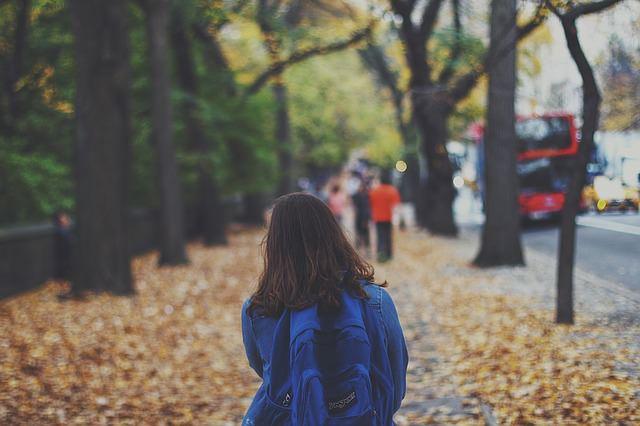 Schulkind auf dem Weg zur Schule im Herbst