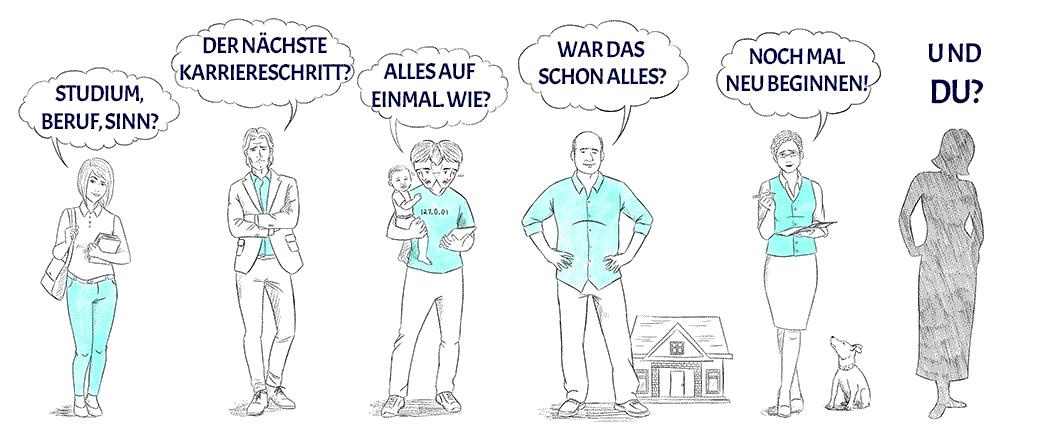 Zeichnung mit verschiedenen Situationen von Menschen in einer Sinnkrise