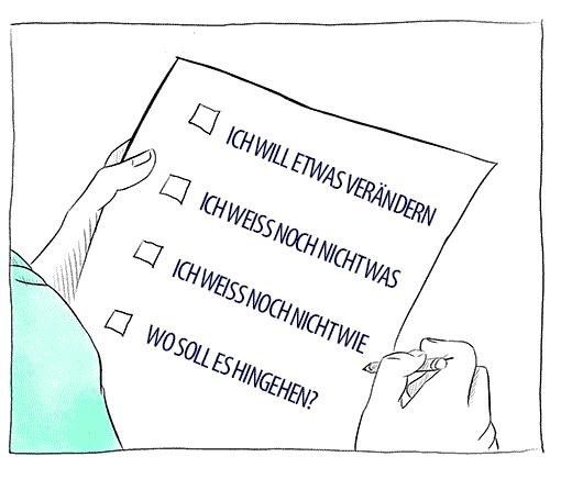 Mann beim Ausfüllen eines Fragebogens zur Formulierung von Zielen