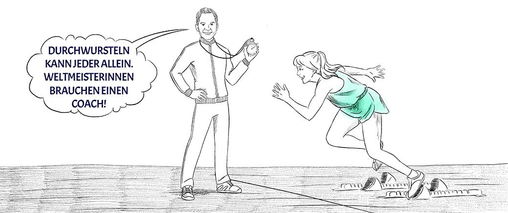 Zeichnung eines Coaches als Trainer mit einer Stoppuhr mit seiner Klientin als startende Läuferin