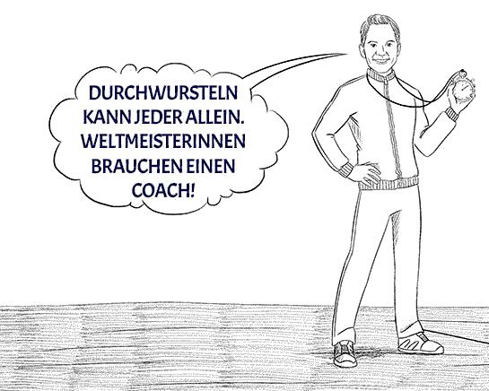 Abbildung eines Coaches als Trainer mit Stoppuhr