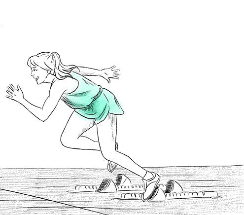 Zeichnung einer Klientin als Sprinterin